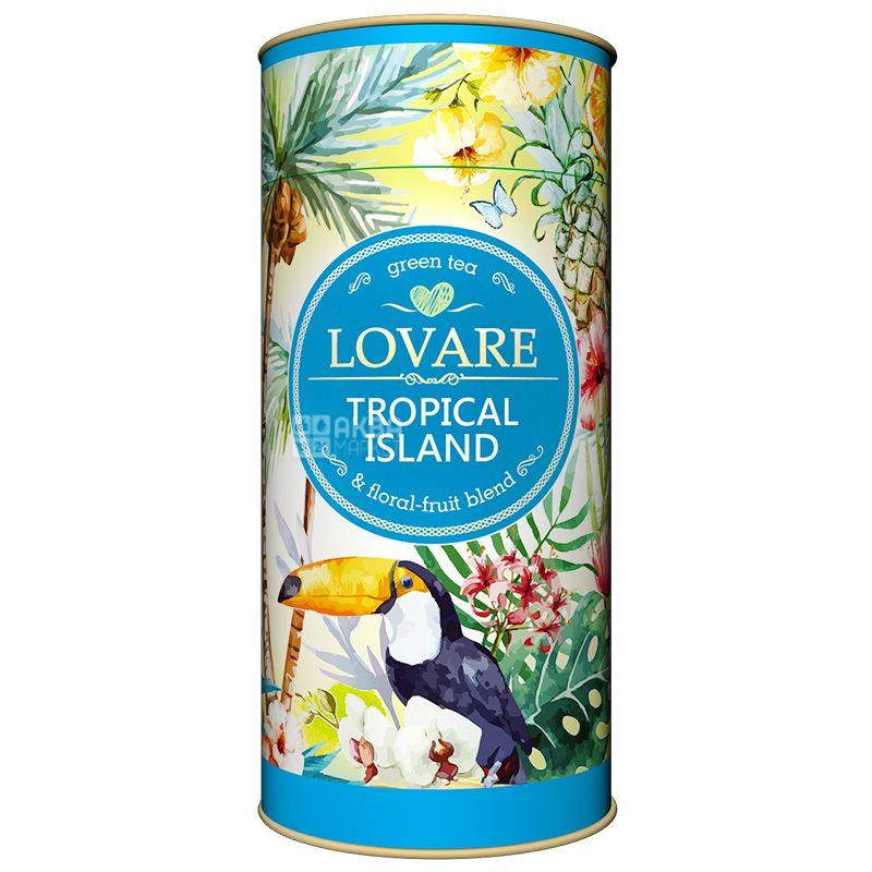 Lovare, Tropical Island, 80 г, Чай Ловаре, Тропический остров, Зеленый, тубус