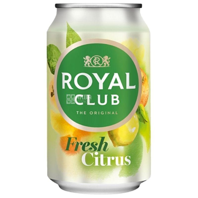 Royal Club, Fresh Citrus, 0,33 л, Роял Клаб, Фреш Цитрус, Напиток газированный, с натуральным соком, ж/б