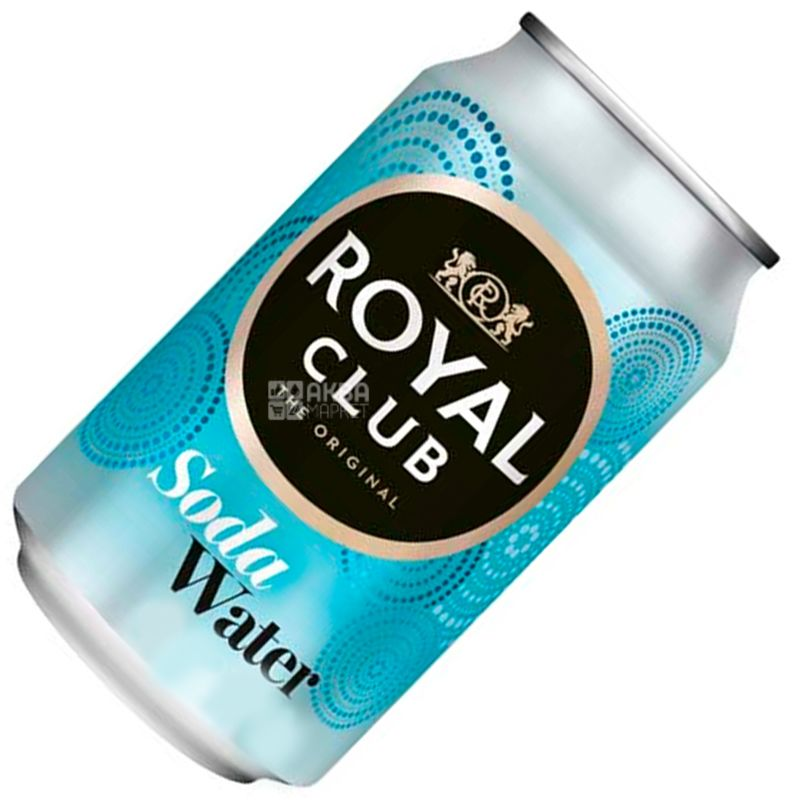 Royal Club, Soda Water, 0,33 л, Роял Клаб, Вода содовая, Напиток газированный, без сахара, ж/б