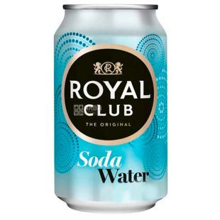 Royal Club, 0,33 л, Вода сильногазированная, Soda Water, ж/б