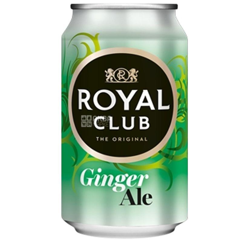 Royal Club, Ginger Ale, 0,33 л, Роял Клаб, Імбирний Ель, Напій газований, ж/б