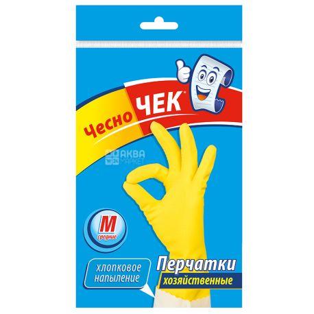 Чесно Чек, размер M, Перчатки хозяйственные, Латексные