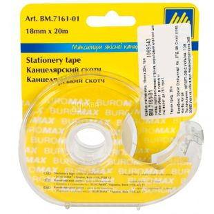 Buromax, 18 мм х 20 м, Скотч канцелярський в диспенсері, ВМ7161