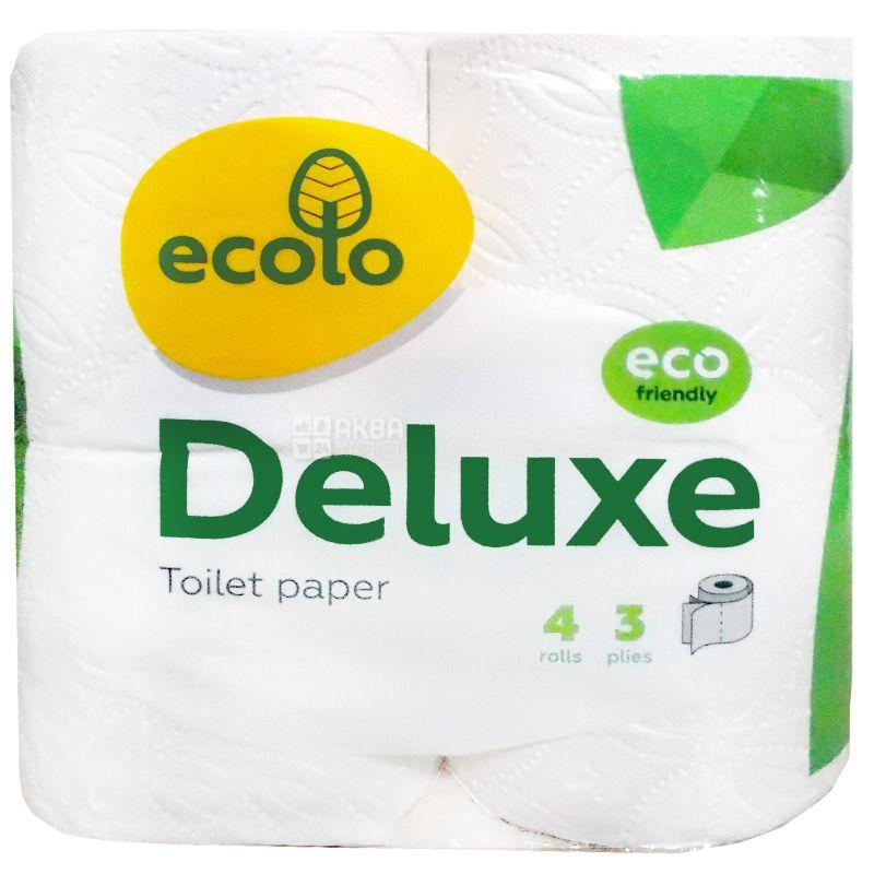 Ecolo, Deluxe, 4 рул., Туалетний папір Еколо Делюкс, 3-х шаровий