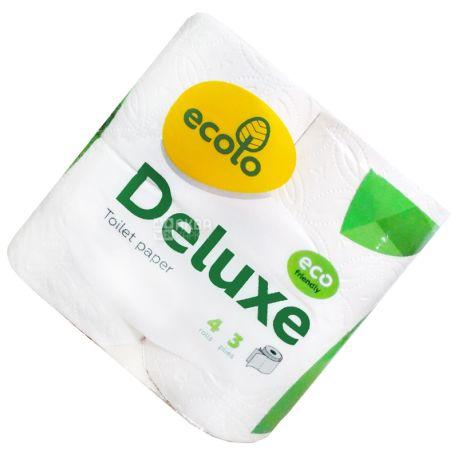 Ecolo, Deluxe, 4 рул.,Туалетная бумага Эколо Делюкс, 3-х слойная