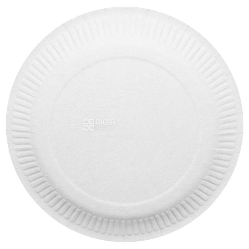 Тарелка бумажная, 50 шт., 230 мм, Одноразовая, Ламинированная