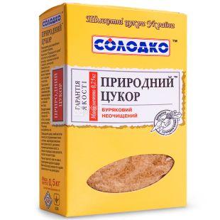 Солодко, 500 г, Сахар Природный Неочищенный, коричневый, рассыпной