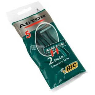 BIC, 5 шт., 2 леза, Cтанок для гоління, Astor, Sensetive skin