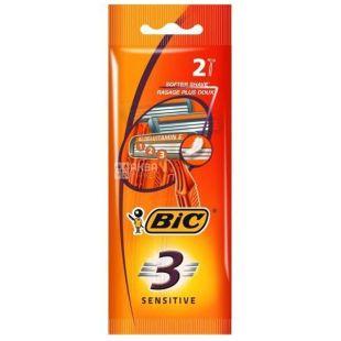 BIC, 2 шт., 3 леза, Cтанок для гоління, Sensetive