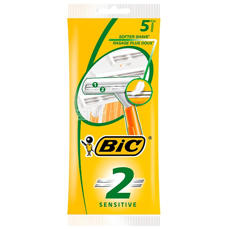 BIC, 5 шт., 2 леза, Cтанок для гоління, Sensetive