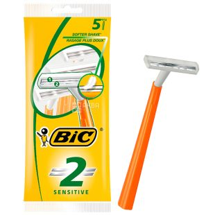 BIC, 5 шт, 2 лезвия, Бритвенный станок, Sensetive
