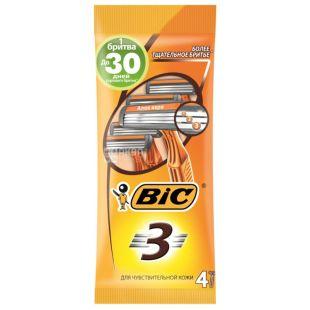 BIC, 4 шт, 3 лезвия, Бритвенный станок, Для чувствительной кожи