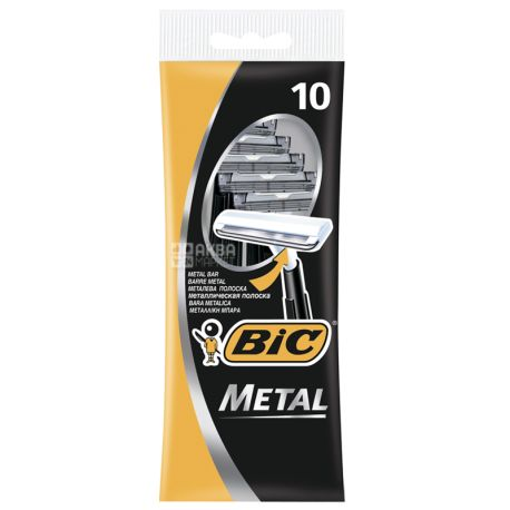BIC, 10 шт., 1 лезо, Cтанок для гоління, Metal