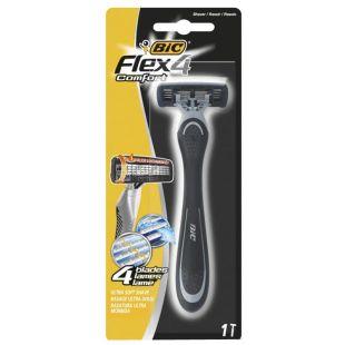 BIC, 1 шт., 4 леза, Cтанок для гоління, Flex 4 Comfort