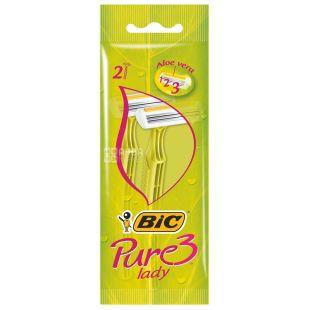 BIC, 2 шт, 3 лезвия, Бритвенный станок, Pure 3 Lady