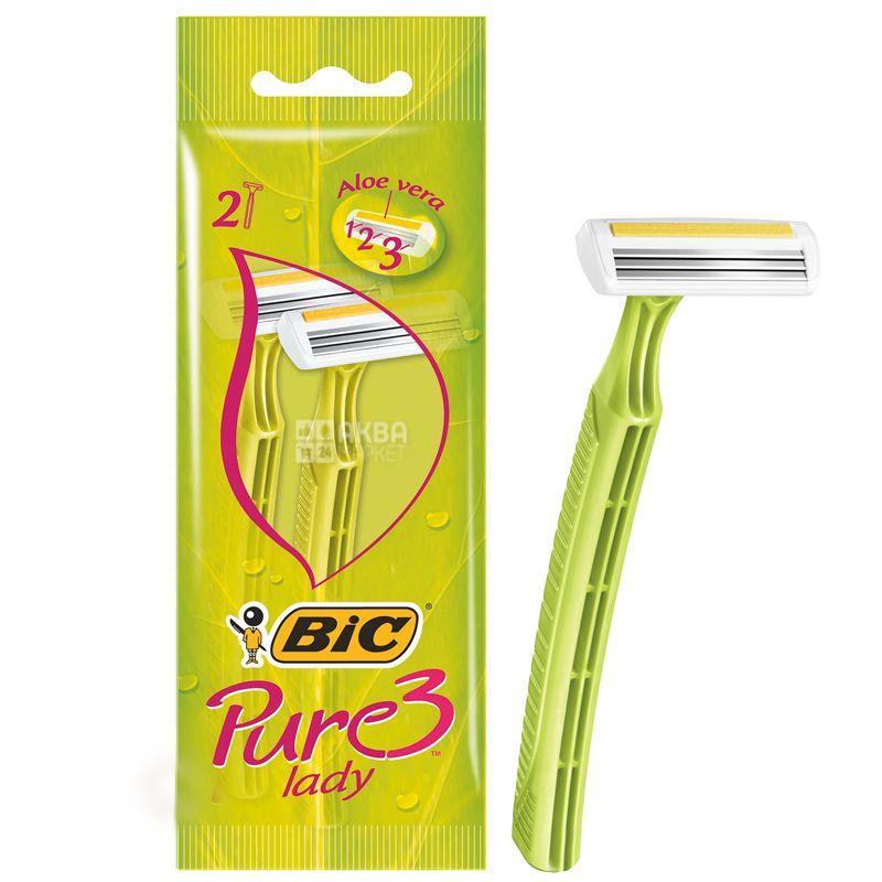 BIC, 2 шт., 3 леза, Cтанок для гоління, Pure 3 Lady