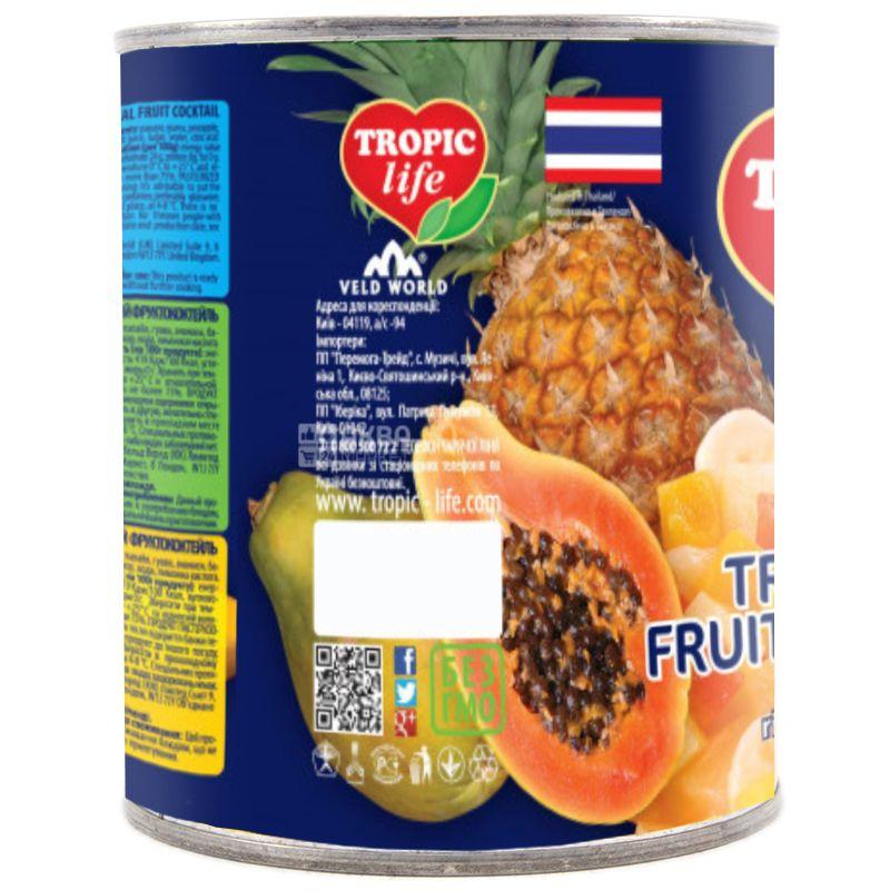 Tropic Life, 425 г, Тропический фруктококтейль, В сиропе