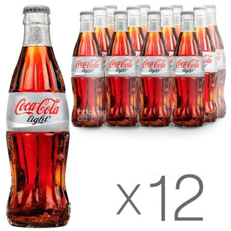 Coca-cola, Упаковка 12 шт. по 0,25 л, Сладкая вода, Light, стекло