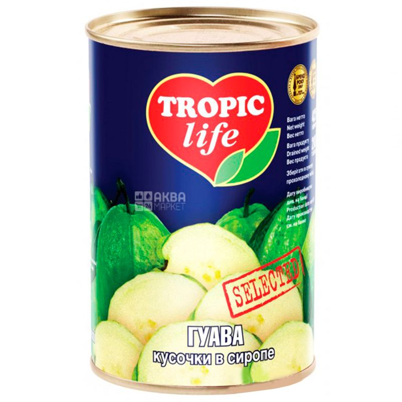Tropic Life, 425 г, Гуава, Кусочки в сиропе