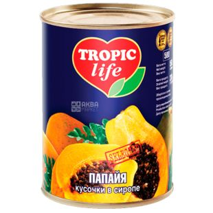 Tropic Life, 565 g, Papaya, Pieces in syrup