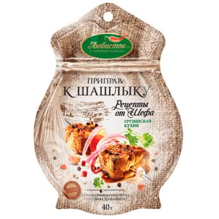 Lyubistok, 40 g, seasoning for kebabs, recipes from the chef