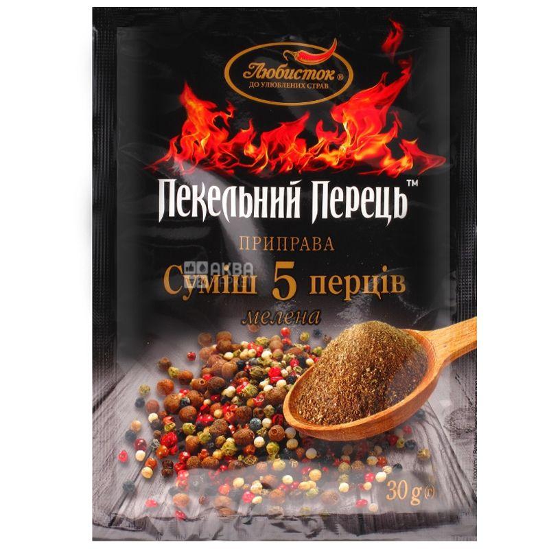 Lyubistok, 30 g, Mix of 5 peppers, Hellish pepper, Ground