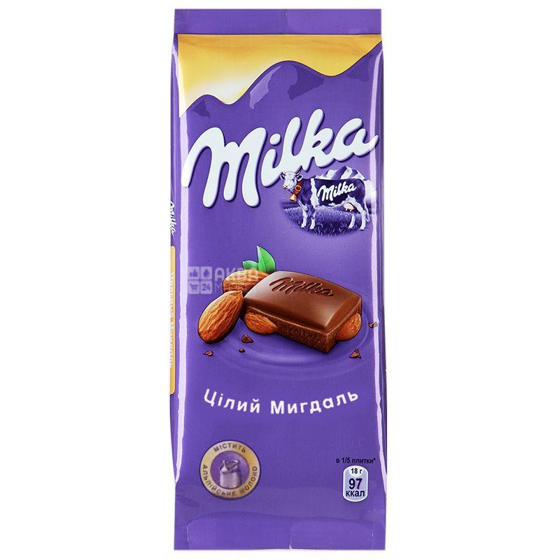 Milka, 90 г, Молочний шоколад, З цільним мигдалем