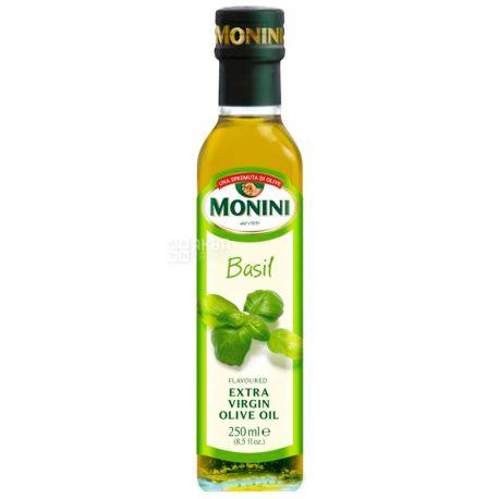 Monini, 250 мл, Масло оливковое с базиликом, Basil Еxtra virgine oil, стекло