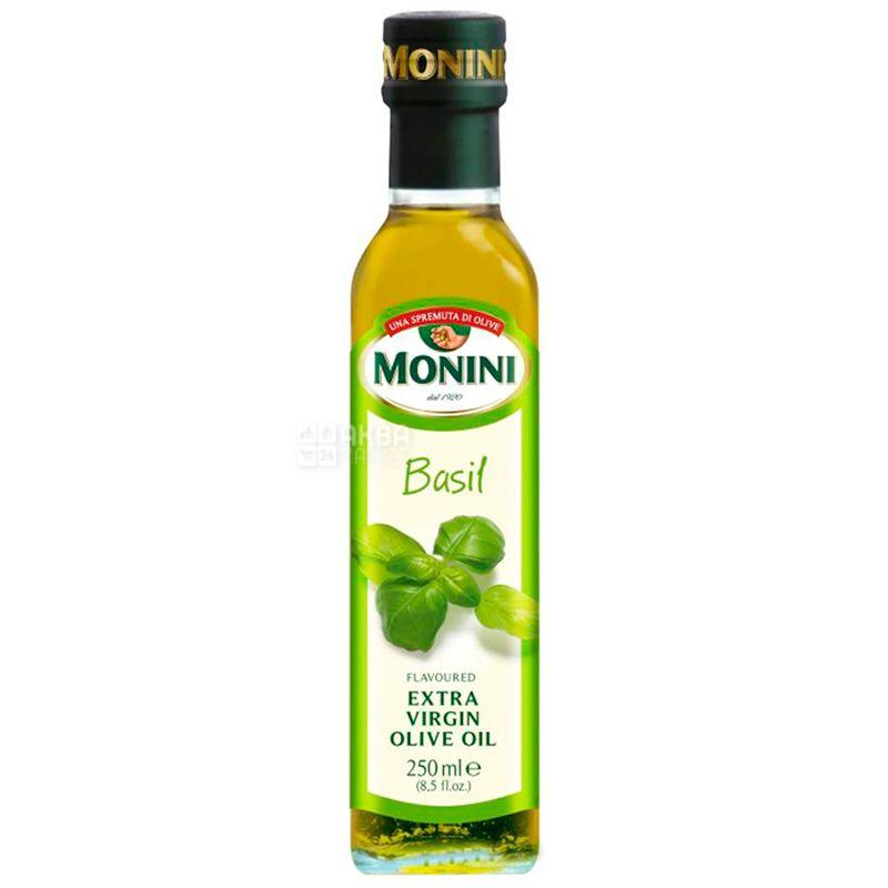 Monini, 250 мл, Олія оливкова з базиліком, Basil, Еxtra virgine, скло