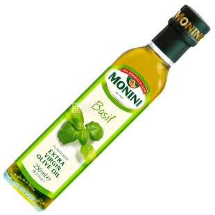 Monini, 250 ml, Olive oil with basil, Basil Extra virgine oil, glass
