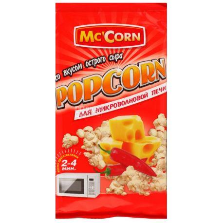 Mc'Corn, 90 г, Попкорн, Зі смаком гострого сиру, Для мікрохвильової печі