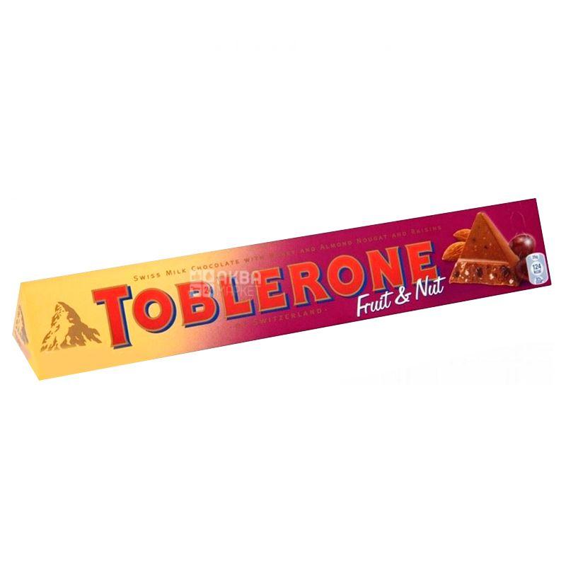 Toblerone, 100 г, Молочный шоколад, С изюмом и нугой из меда и миндаля