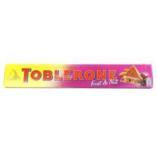 Toblerone, 100 г, Молочний шоколад, З родзинками та нугою з меду та мигдалю
