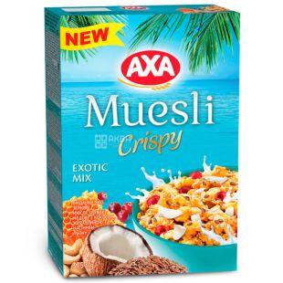 AXA, Crispy, Exotic Mix, 375 г, Мюсли Криспы, Экзотик Микс, медовые, кокос, клюква, семена льна, сухой завтрак, быстрого пригото