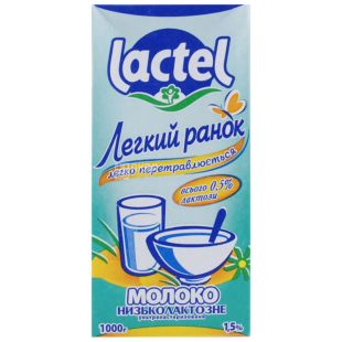 Lactel Low-lactic Milk, 1l, 1.5%, Light morning, Ultra Pasteurized