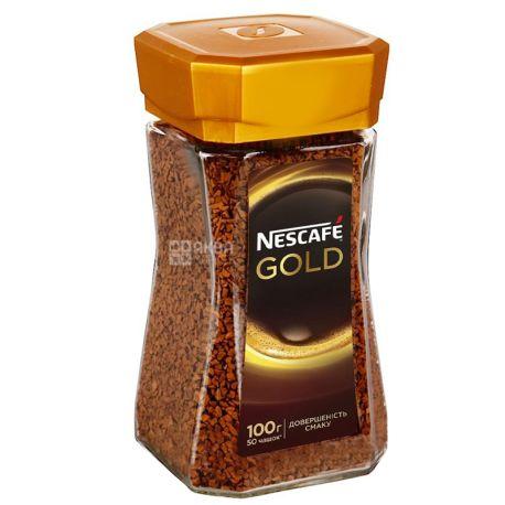 Nescafe, 100 г, Кофе растворимый, Gold, стекло