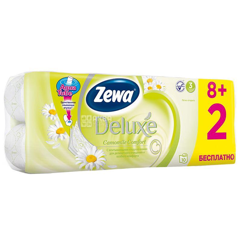 Zewa, 8+2 рул, Туалетная бумага, Deluxe, Ромашка