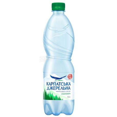 Карпатська Джерельна, 0,5 л, Вода слабогазированная, Минеральная, ПЭТ