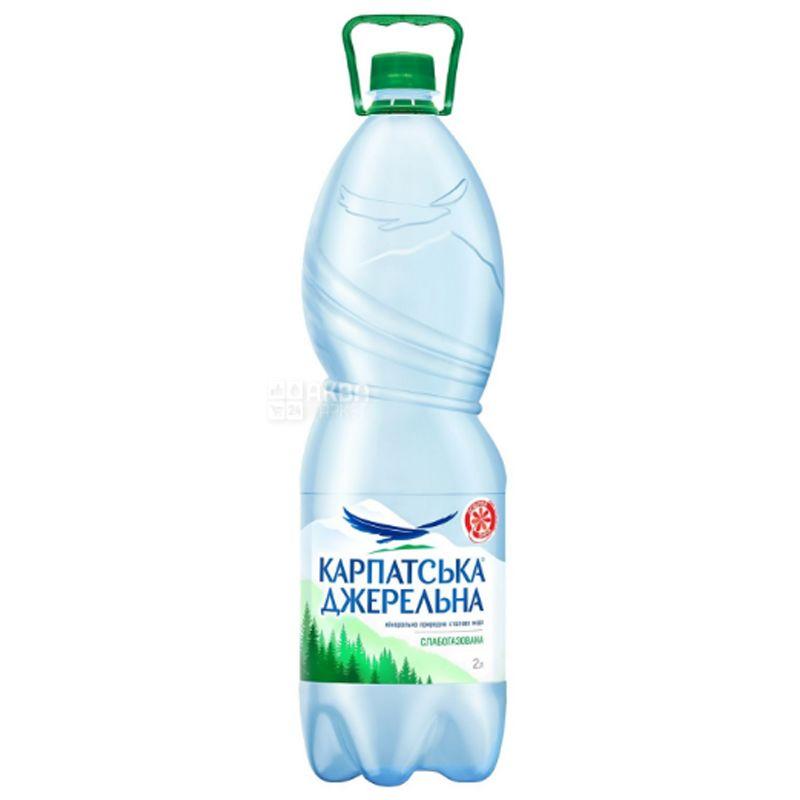 Карпатська Джерельна, 2 л, Вода минеральная слабогазированная, ПЭТ