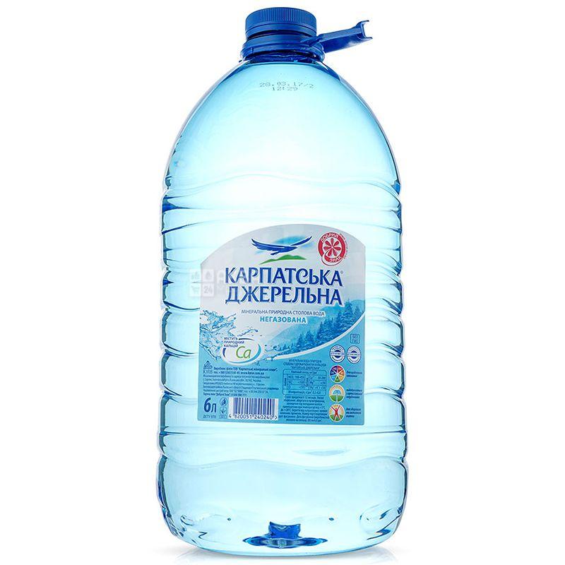Карпатська Джерельна, 6 л, Вода минеральная негазированная, ПЭТ