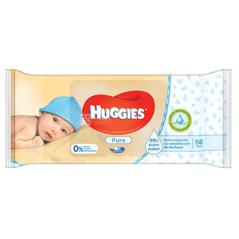 Huggies, 56 шт., Дитячі серветки, Вологі, Pur