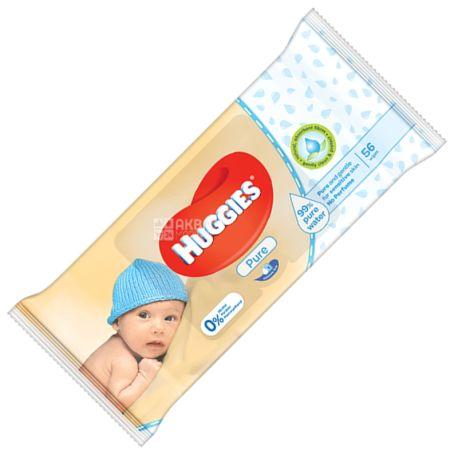 Huggies Pure, 56 шт., Детские салфетки, Влажные