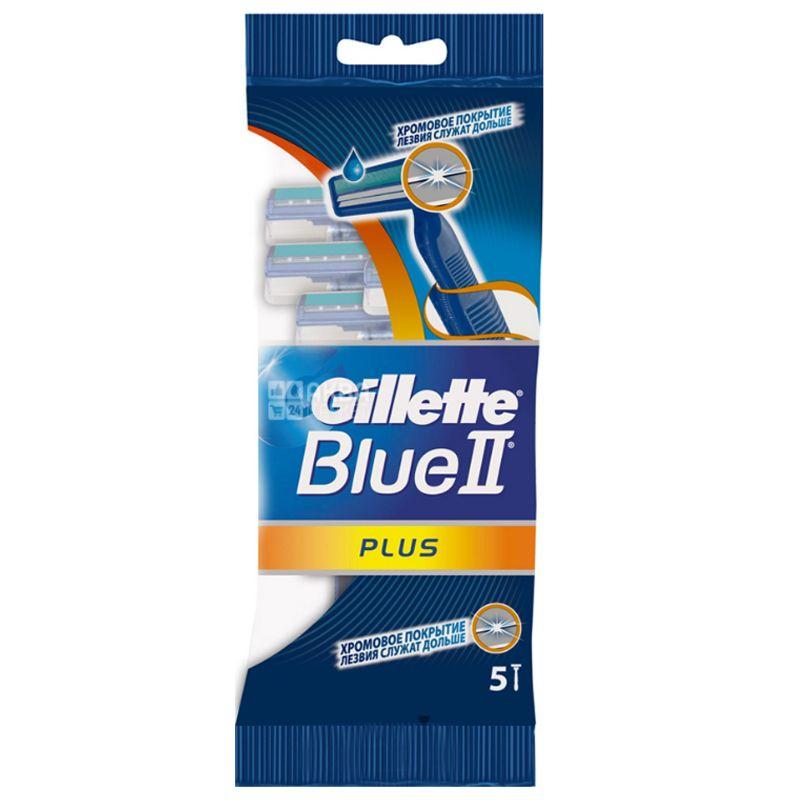 Gillette, 5 шт., Станок одноразовий, BLUE 2 Plus