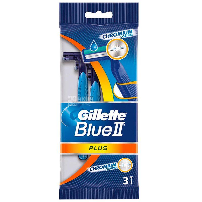 Gillette, 3 шт., Станок одноразовый, BLUE 2 Plus