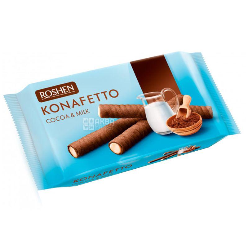 Roshen, 156 г, Вафельные трубочки со вкусом какао и молока, Konafetto