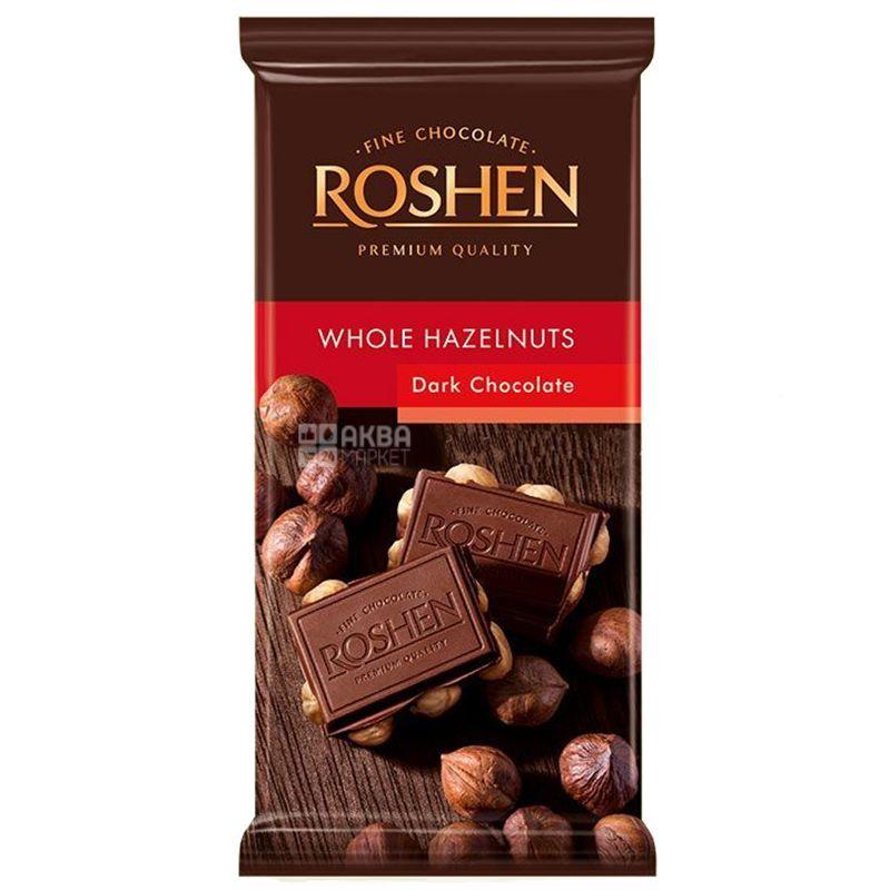 Roshen, 90 г, Шоколад экстрачeрный, С цельным лесным орехом