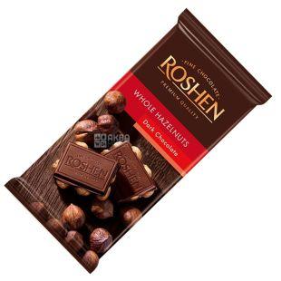 Roshen, 90 г, Шоколад екстрачoрний, З цілим лісовим горіхом