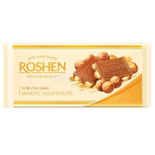 Roshen, 90 г, Шоколад молочний, З цільним мигдалем