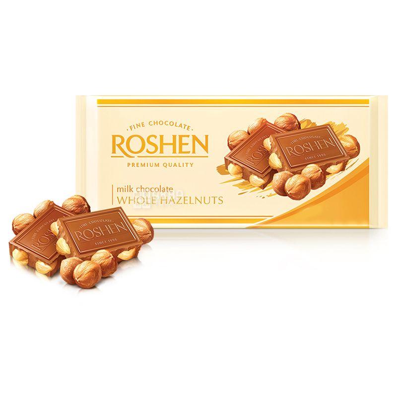 Roshen, 90 г, Шоколад молочный, С цельным миндалем