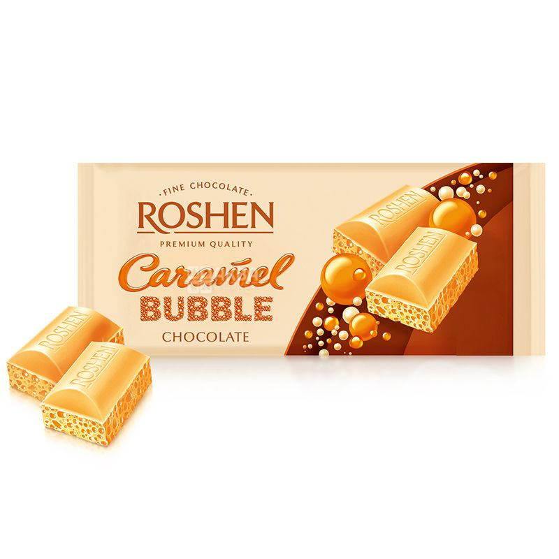 Roshen, 85 г, Шоколад білий пористий, Карамельний